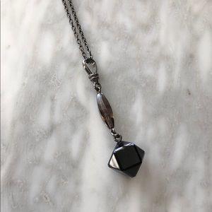 Emporio Armani gunmetal pendant necklace